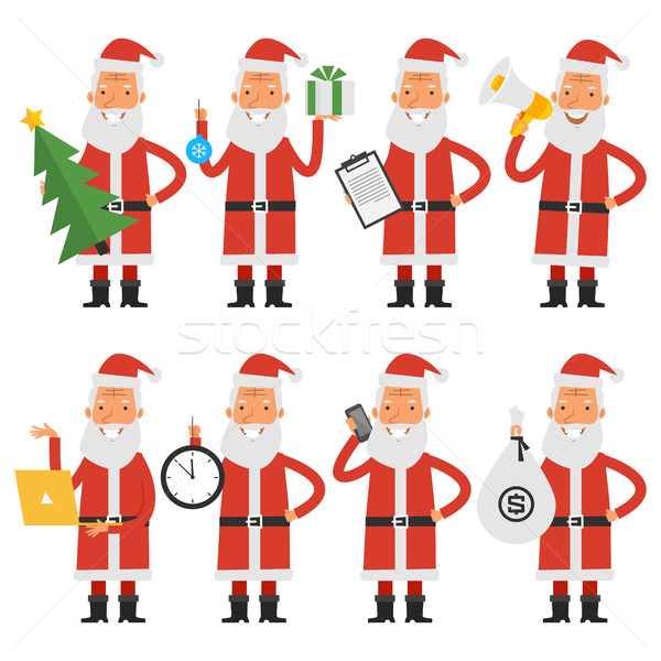 Santa Claus in various poses part 2 Stock photo © yuriytsirkunov
