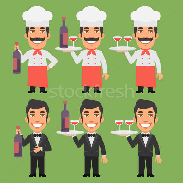 Chef and Waiter Holding Wine Bottle Stock photo © yuriytsirkunov
