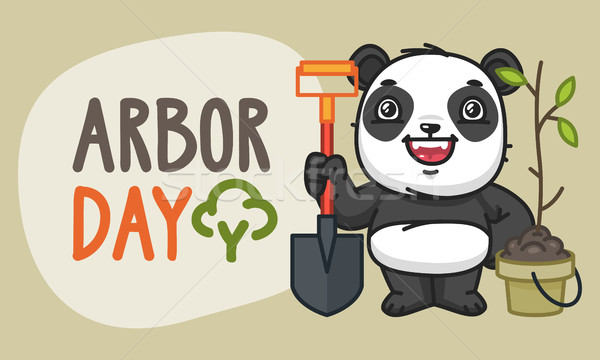 Arbor Day Panda Character Holding Shovel and Laughs Stock photo © yuriytsirkunov