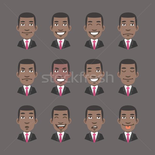 Ayarlamak duygular siyah adam işadamı format eps Stok fotoğraf © yuriytsirkunov