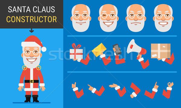 ストックフォト: 文字 · サンタクロース · マスコット · 手 · ボックス · 楽しい