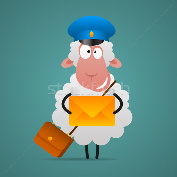 Wesoły owiec listonosz list ilustracja format Zdjęcia stock © yuriytsirkunov