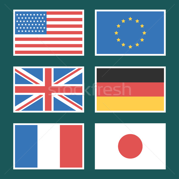 Flag America European Union Germany France  Stock photo © yuriytsirkunov