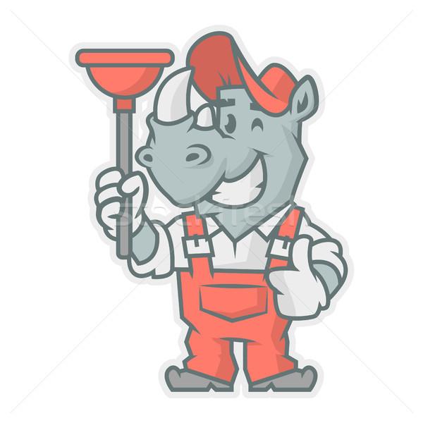 Rhinoceros character holding plunger Stock photo © yuriytsirkunov