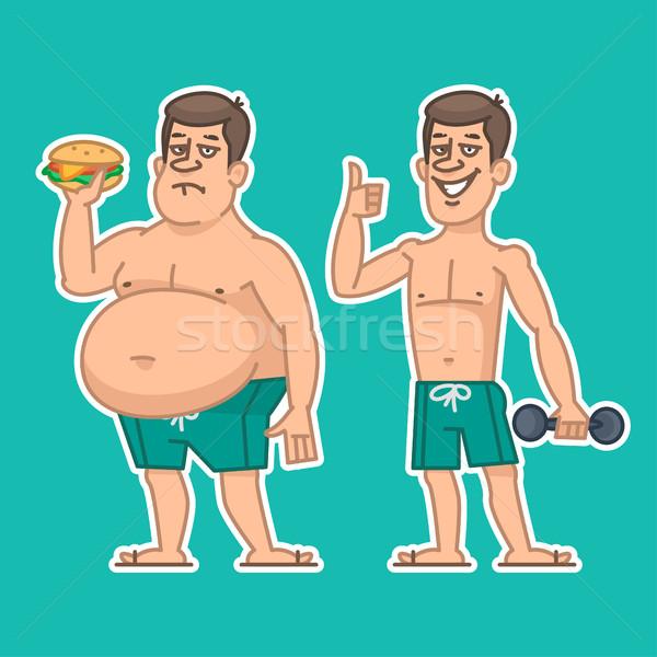 Thick and thin man characters Stock photo © yuriytsirkunov
