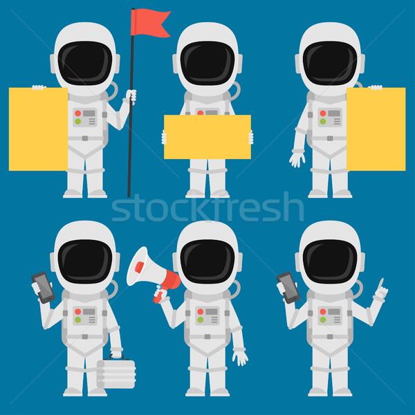 астронавт бумаги телефон мегафон формат Сток-фото © yuriytsirkunov