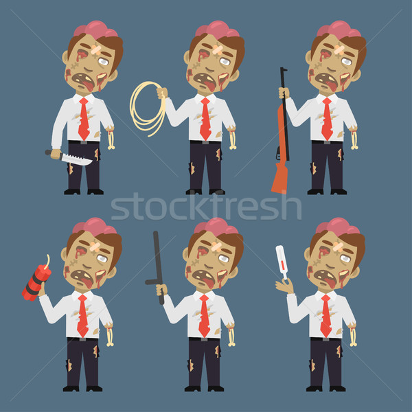 Zombie Holds Weapons Rope Dynamite Thermometer Stock photo © yuriytsirkunov