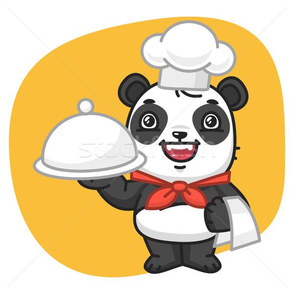Panda Chef Holding Tray Stock photo © yuriytsirkunov