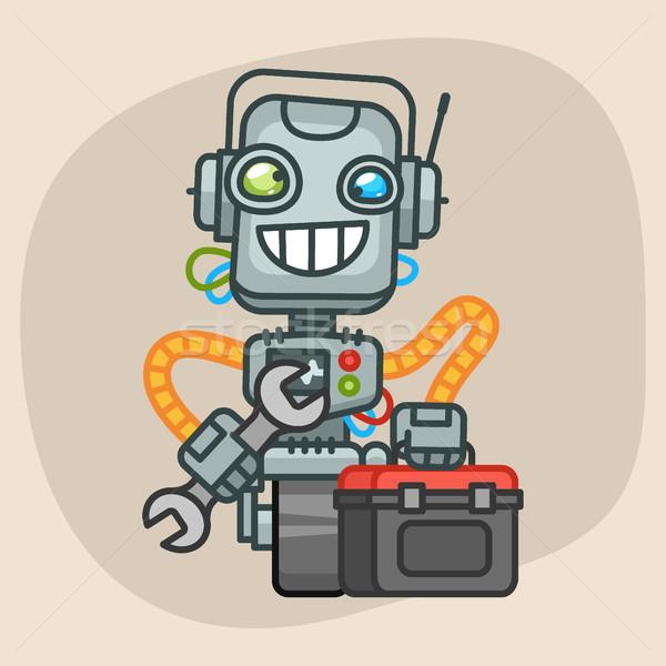 Robot Holds Suitcase with Tool Stock photo © yuriytsirkunov