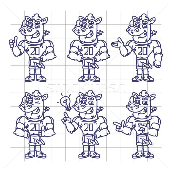 Sketch Character Set Rhino Football Player Shows and Points Stock photo © yuriytsirkunov
