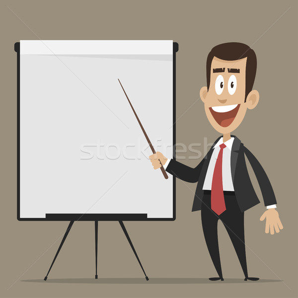 Cheerful businessman points to flip chart Stock photo © yuriytsirkunov