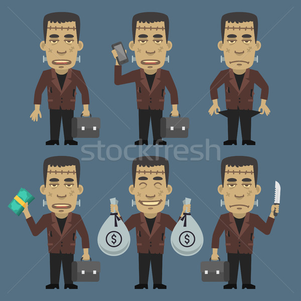 Monster Holding Money Suitcase Phone Stock photo © yuriytsirkunov