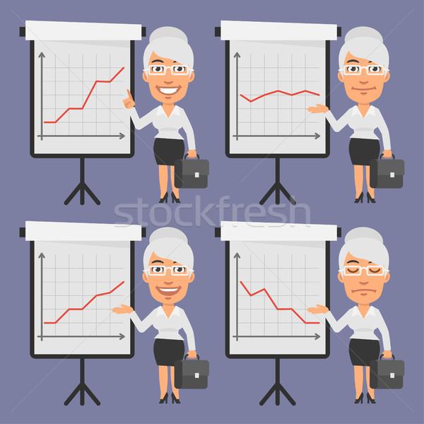 Old Businesswoman Points on Flip Chart Stock photo © yuriytsirkunov