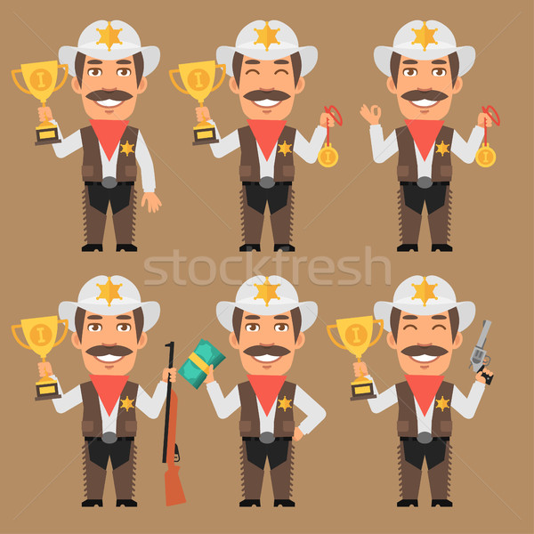 Sheriff Cowboy Holds Cup Medal and Money Stock photo © yuriytsirkunov