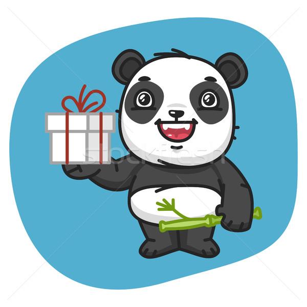 Panda ajándék formátum eps 10 születésnap Stock fotó © yuriytsirkunov