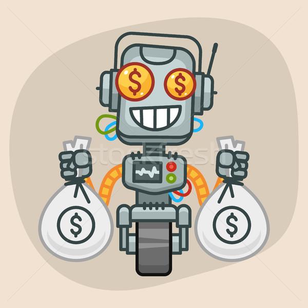 Robot Holds Two Bags Money Stock photo © yuriytsirkunov