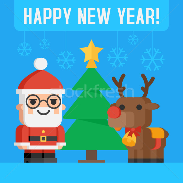 Santa Claus and reindeer Stock photo © yuriytsirkunov