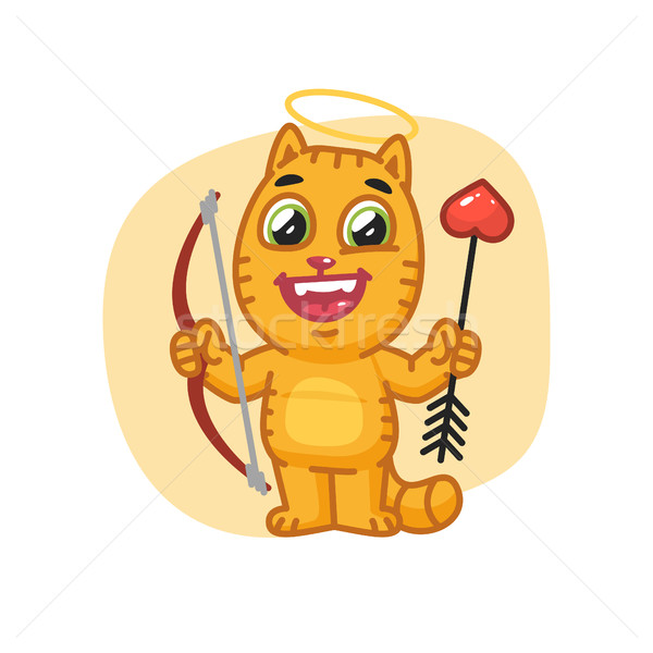 Cat Cupid Holding Bow and Arrow Stock photo © yuriytsirkunov