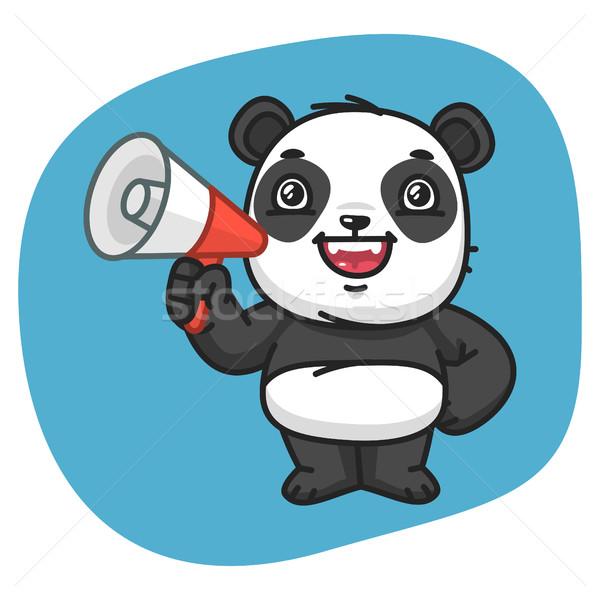 Panda megafon format eps 10 kolor Zdjęcia stock © yuriytsirkunov