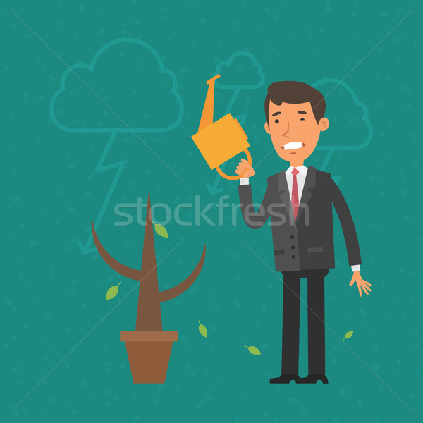 Concept businessman and money tree withered Stock photo © yuriytsirkunov
