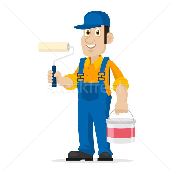 Painter holds roller and bucket Stock photo © yuriytsirkunov