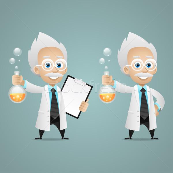 Wetenschapper reageerbuis tablet illustratie formaat eps Stockfoto © yuriytsirkunov
