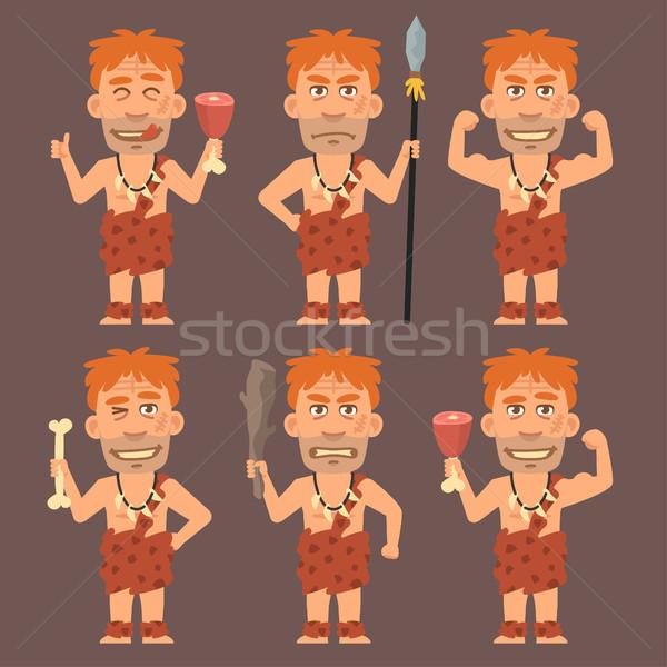 Neanderthal Holds Weapons Bone and Meat Stock photo © yuriytsirkunov