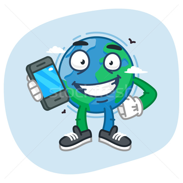 Character Earth Holding Mobile Phone Stock photo © yuriytsirkunov