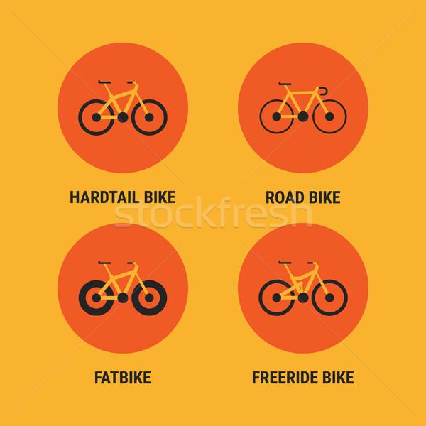 ícones diferente bicicleta bicicletas opção conjunto Foto stock © yuriytsirkunov