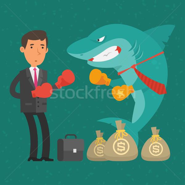 ボクシング 一致 ビジネスマン サメ ビジネス 実例 ストックフォト © yuriytsirkunov