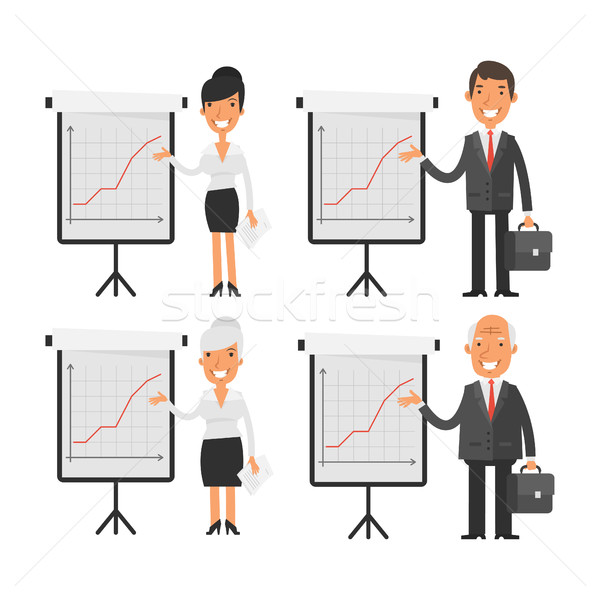 Business people point to flip chart Stock photo © yuriytsirkunov