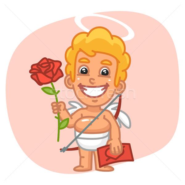 Cupid Holding Valentine Card and Large Rose Stock photo © yuriytsirkunov