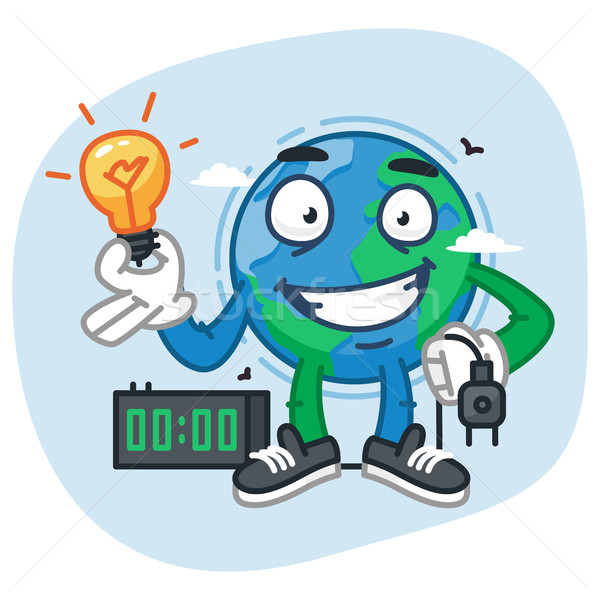 Earth Character Holding Light Bulb and Electric Plug Stock photo © yuriytsirkunov