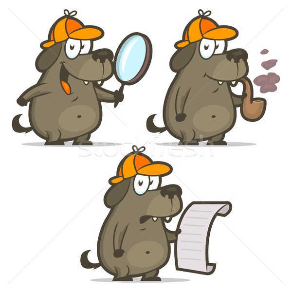 Dog detective smoking pipe list Stock photo © yuriytsirkunov