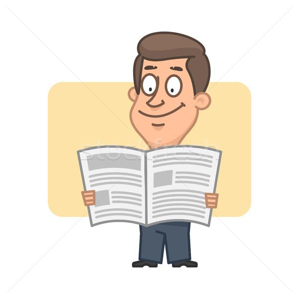 Zakenman lezing krant illustratie formaat eps Stockfoto © yuriytsirkunov
