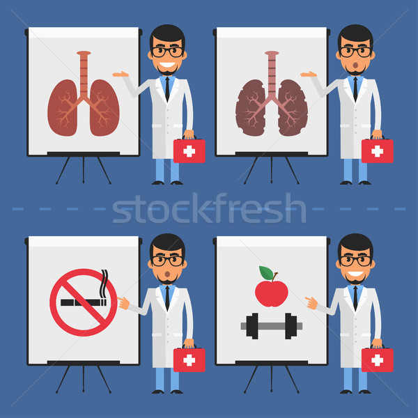 Doctor indicates on flip chart Stock photo © yuriytsirkunov
