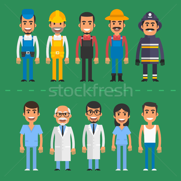 Group people builder doctor nurse fireman farmer Stock photo © yuriytsirkunov