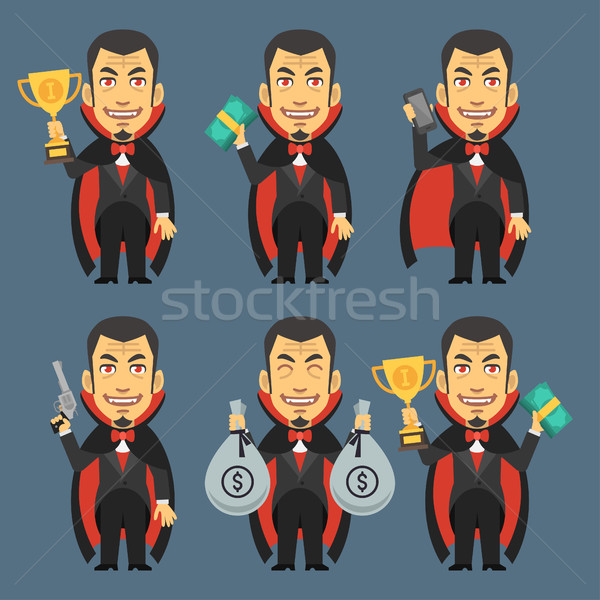 Vampire Holding Gun Money Cup Stock photo © yuriytsirkunov