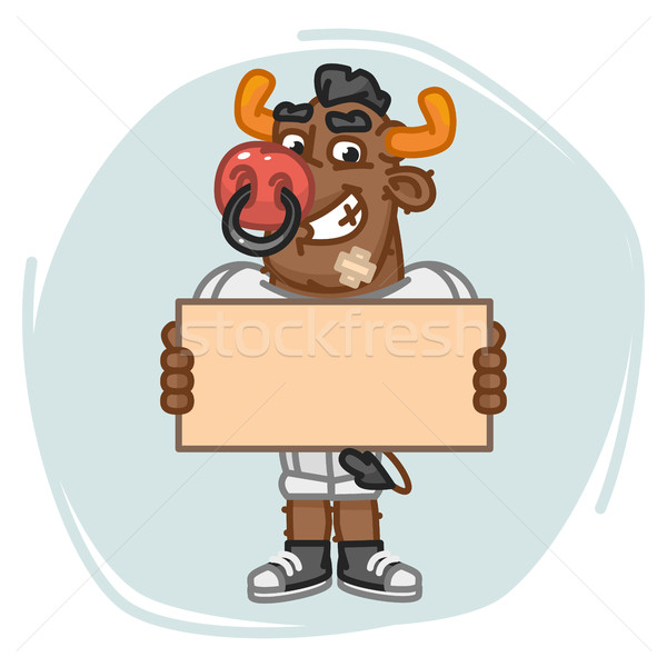 Bull Football Player Holds Blank Sheet Paper Stock photo © yuriytsirkunov