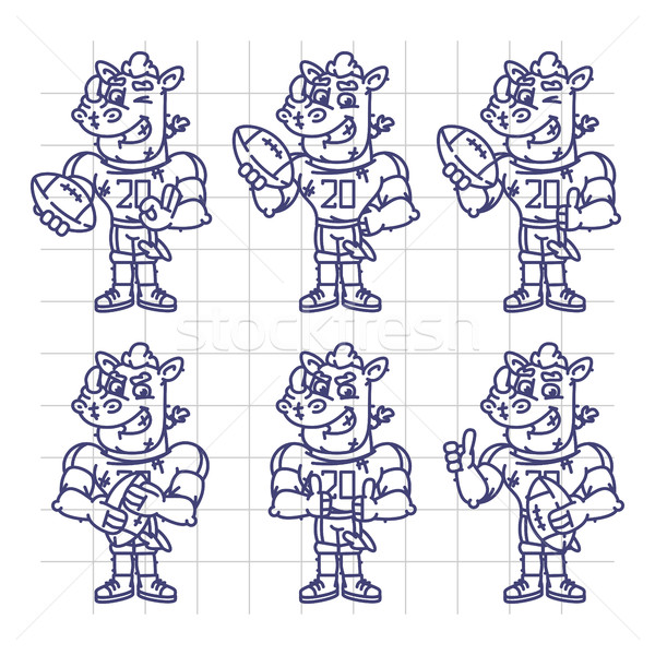 Sketch Character Set Rhino Football Player Holds Rectangular Bal Stock photo © yuriytsirkunov