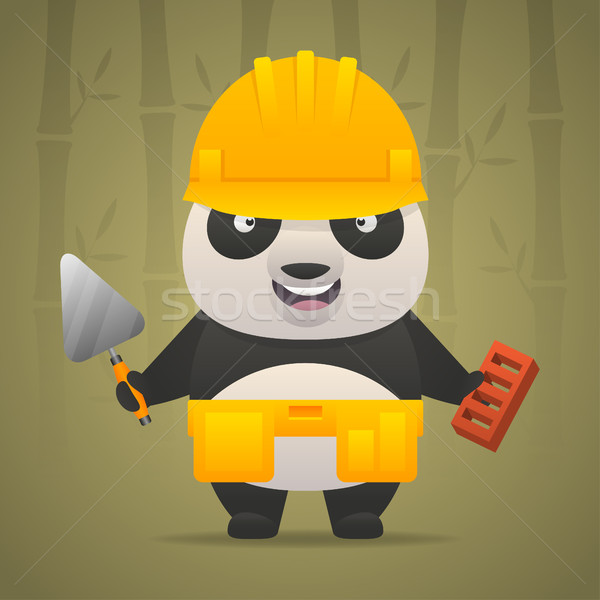 Panda character builder in helmet Stock photo © yuriytsirkunov