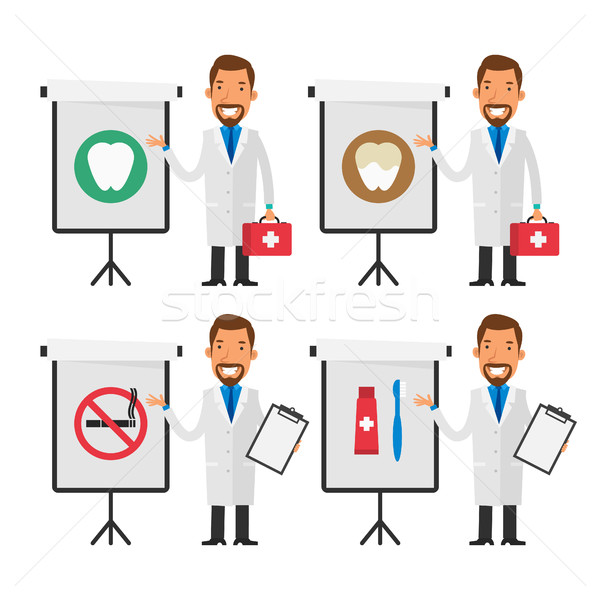 Dentist points to flip chart Stock photo © yuriytsirkunov