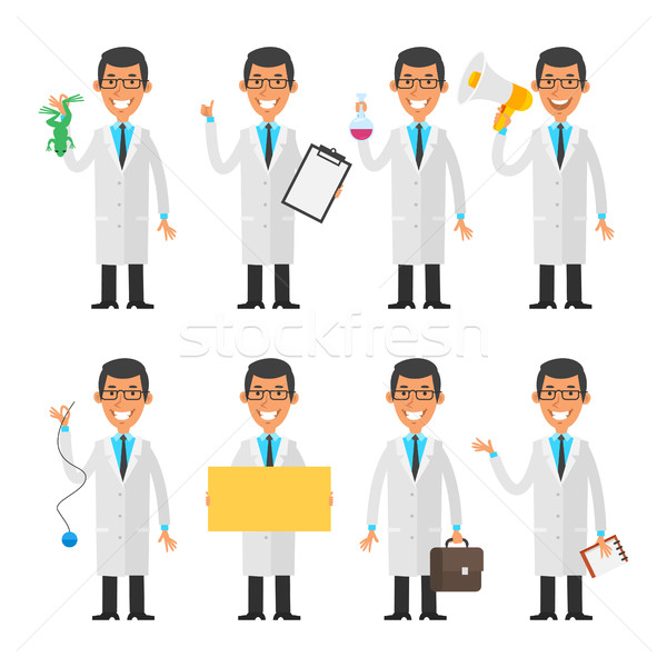 Set characters young scientist Stock photo © yuriytsirkunov