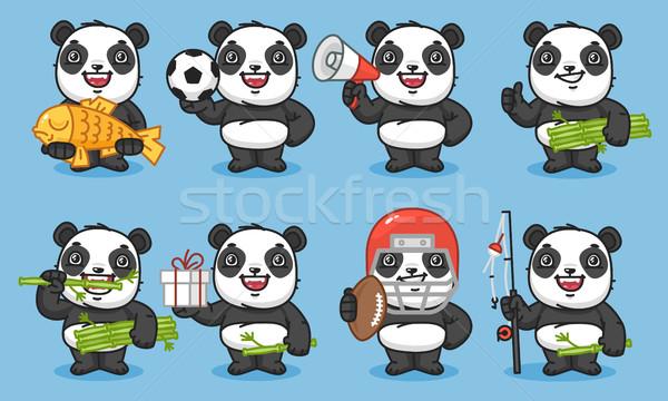Panda ayarlamak balık futbol top Stok fotoğraf © yuriytsirkunov