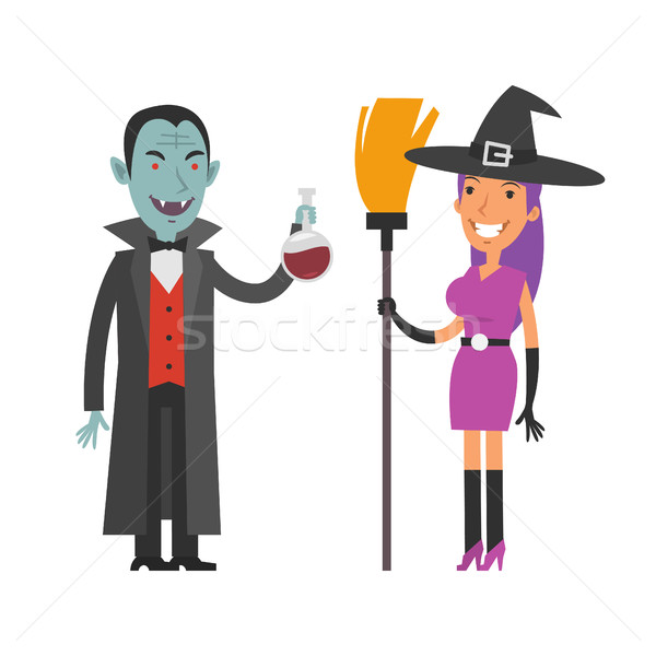 Characters Dracula and Witch Stock photo © yuriytsirkunov
