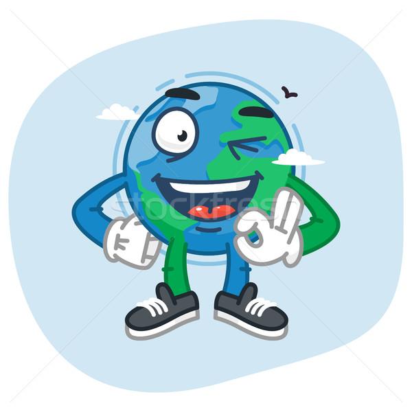 Character Earth Shows Gesture Ok Stock photo © yuriytsirkunov
