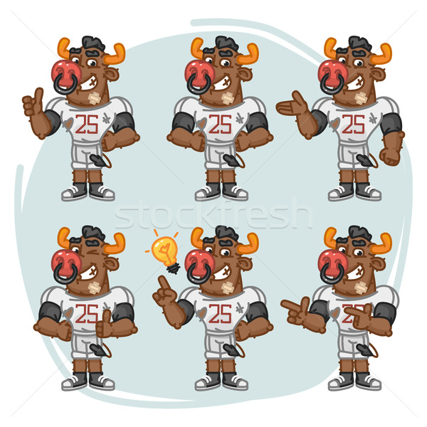 Character Set Bull Football Player Shows and Points Stock photo © yuriytsirkunov