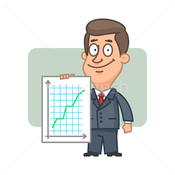 ストックフォト: 文字 · ビジネスマン · グラフ · 成功 · 実例