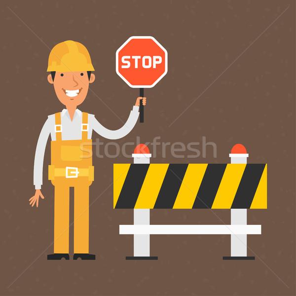 Construtor sinal de parada sorridente ilustração formato Foto stock © yuriytsirkunov