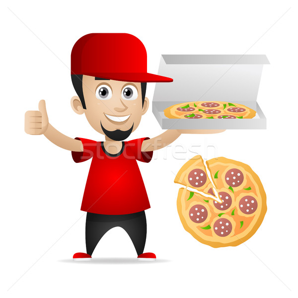 Man holds pizza and showing thumbs up Stock photo © yuriytsirkunov